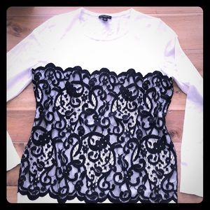 white sweater black lace.  Petite Medium